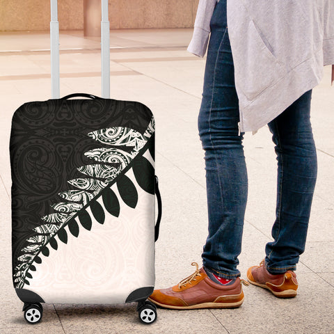 New Zealand Silver Fern Luggage Cover Black White K4 - 1st New Zealand