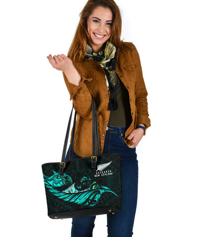 New Zealand Small Leather Tote Manaia Paua Fern Wing - Turquoise K4 - 1st New Zealand