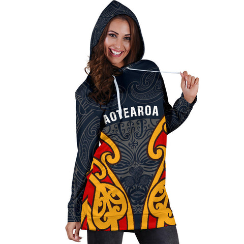 New Zealand Aotearoa Maori Moko Hoodie Dress TH5 - 1st New Zealand