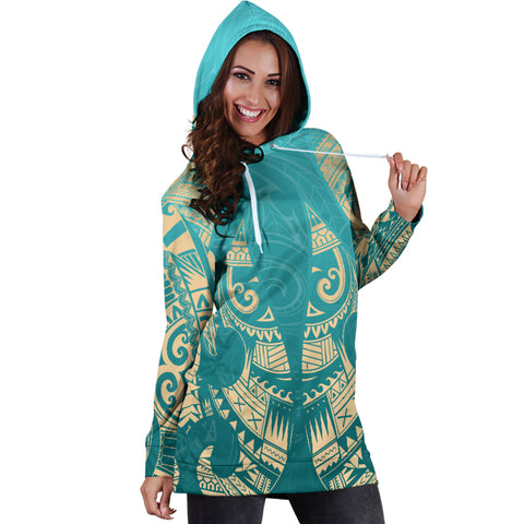 New Zealand Maori Hoodie Dress, Hei Matau Tattoo Sweatshirt Dress K5