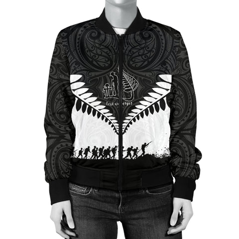 New Zealand Anzac Day Women Bomber Jacket, Lest We Forget Silver Fern K4 - 1st New Zealand