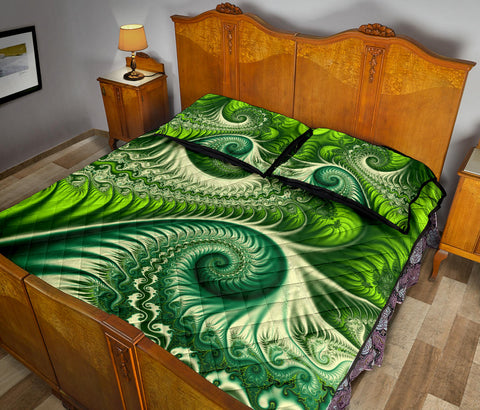 New Zealand Quilt Bed Set , Koru Fern Quilt And Pillow Cover - Abstract Style K4 - 1st New Zealand