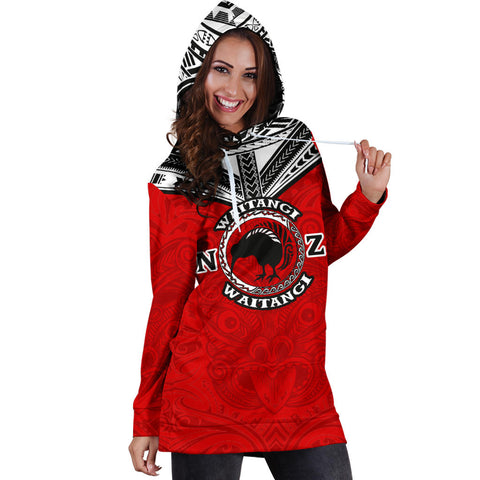 Image of New Zealand Maori Hoodie Dress Waitangi Day - Red K5 - 1st New Zealand