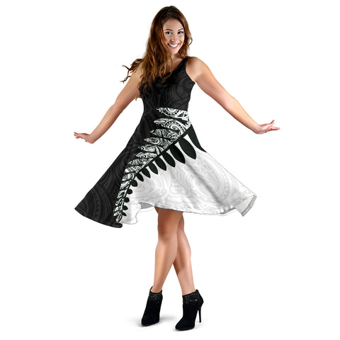 Silver Fern Women Midi Dress Black White K4 - 1st New Zealand