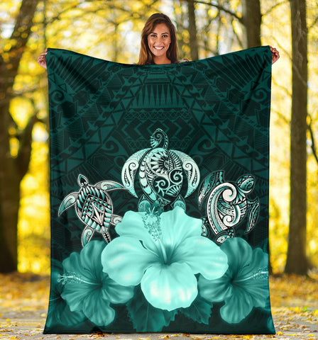Polynesian Premium Blanket Turtle And Hibiscus Turquoise TH5 - 1st New Zealand