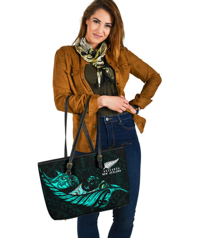 New Zealand Large Leather Tote Manaia Paua Fern Wing - Turquoise K4 - 1st New Zealand