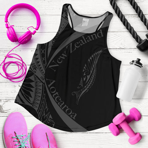 New Zealand Silver Fern Women's Racerback Tank Maori Tattoo Circle Style J95