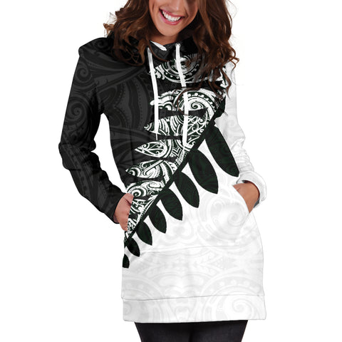 Image of New Zealand Silver Fern Hoodie Dress Black White K4 - 1st New Zealand