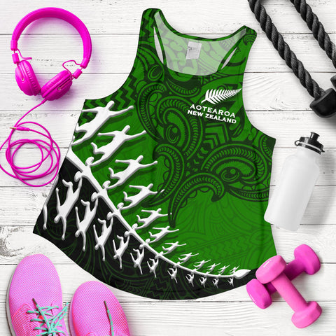 New Zealand Silver Fern Women Racerback Tank, Maori Manaia Rugby Player K4 - 1st New Zealand