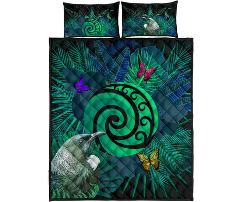 New Zealand Quilt Bed Set Koru Fern Mix Tui Bird - Tropical Floral Turquoise K4 - 1st New Zealand