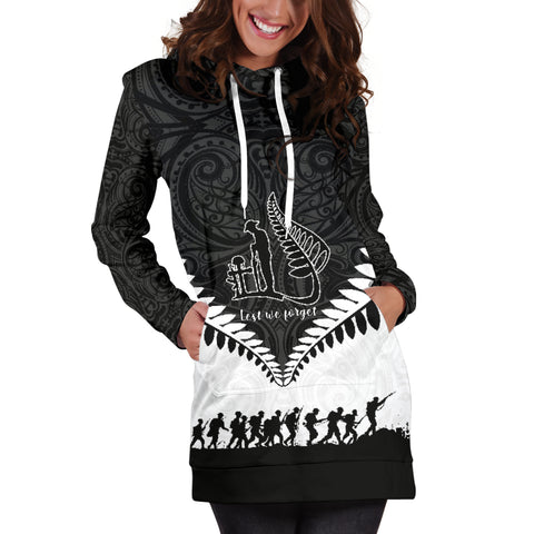 New Zealand Anzac Day Hoodie Dress, Lest We Forget Silver Fern K4 - 1st New Zealand