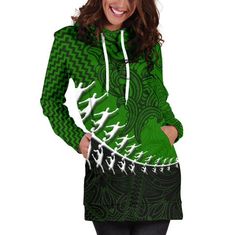 Image of New Zealand Silver Fern Hoodie Dress, Maori Manaia Rugby Player Women Dress K4 - 1st New Zealand