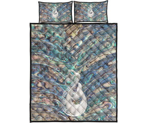New Zealand Quilt Bed Set, Te Mania Paua Shell Ruaumoko Quilt And Pillow Cover K5 - 1st New Zealand