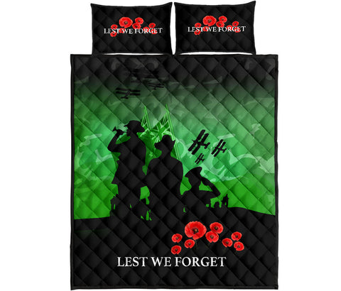 Image of New Zealand Quilt Bed Set, Lest We Forget Poppies Anzac Day Quilt And Pillows Cover K5 - 1st New Zealand