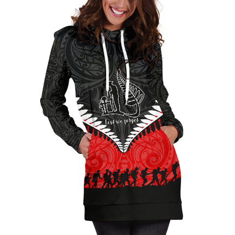 Image of New Zealand Anzac Day Women Hoodie Dress , Lest We Forget Silver Fern Red K4 - 1st New Zealand