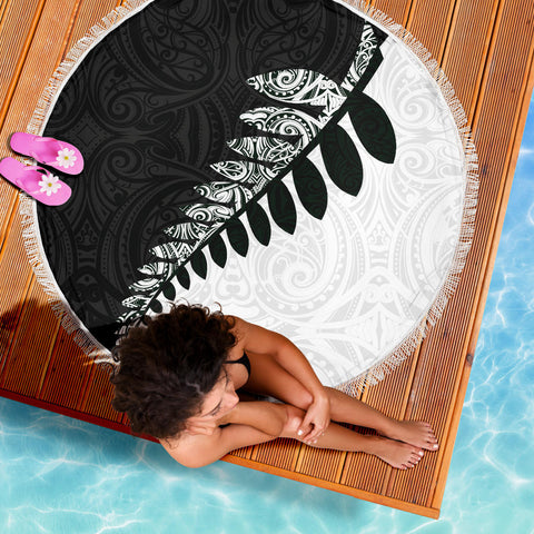 Beach Blanket NZ Silver Fern Black White K4 - 1st New Zealand