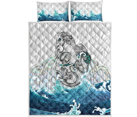 Maori Manaia The Blue Sea Quilt Bed Set, White K5 - 1st New Zealand