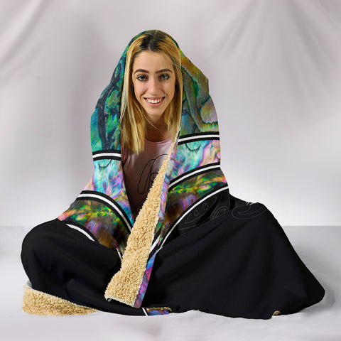 Paua Shell with Maori Face Hooded Blanket 5