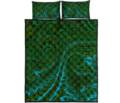 New Zealand Quilt Bed Set , Koru Fern Quilt And Pillow Cover - Abstract Style 02 K4 - 1st New Zealand