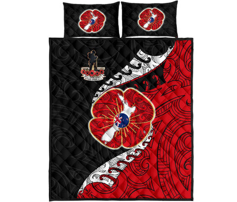Anzac New Zealand Quilt Bed Set  - Lest We Forget Poppy Map Silver Fern NZ K4 - 1st New Zealand