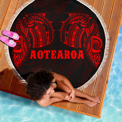 Aotearoa Maori Tattoo Beach Blanket Red K4 - 1st New Zealand
