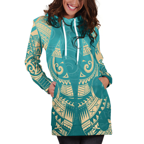 New Zealand Maori Hoodie Dress, Hei Matau Tattoo Sweatshirt Dress K5 - 1st New Zealand