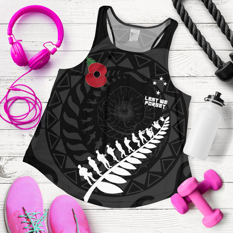 Anzac Tattoo New Zealand, Lest We Forget Wome Racerback Tank K5