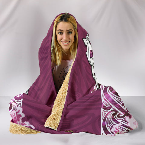 Image of Maori Manaia The Blue Sea Hooded Blanket, Pink K5