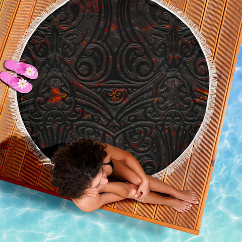 New Zealand Warriors Beach Blanket Maori Tiki Vocalno Style Th00 - 1st New Zealand