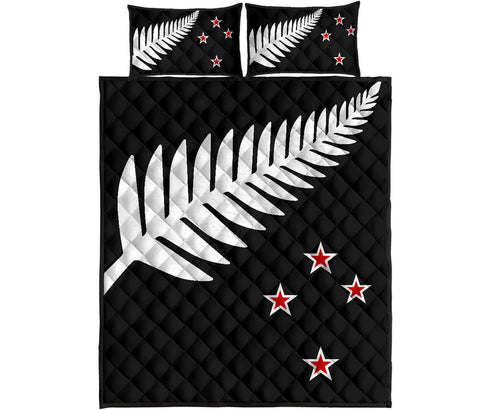 New Zealand Flag Silver Fern Black with Red Stars Quilt Bedding Sets K5 - 1st New Zealand