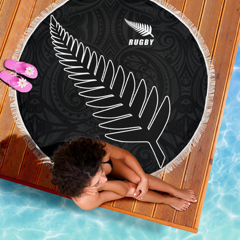 Image of Silver Fern Rugby Beach Blanket K4 - 1st New Zealand