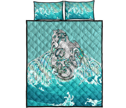 Maori Manaia The Blue Sea Quilt Bed Set, Turquoise K5