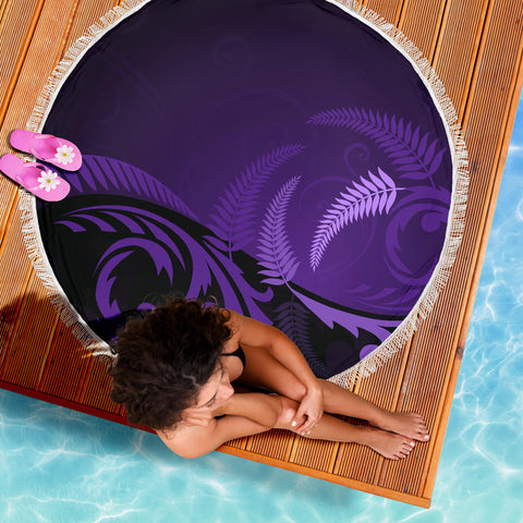 New Zealand Silver Fern Beach Blanket Purple K4 Front 5