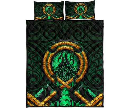 Maori New Zealand Quilt Bed Set Manaia Green Duvet Cover and Pillow Case K6 - 1st New Zealand