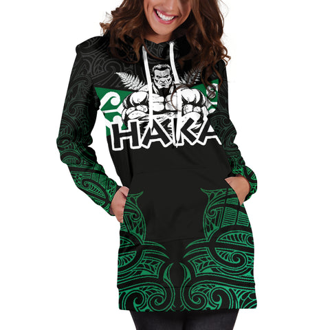 Image of Aotearoa Rugby Women's Hoodie Dress - Kia Kaha Stay Strong Th00 - 1st New Zealand