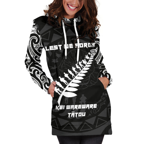 Image of Anzac Tattoo New Zealand, Lest We Forget Hoodie Dress K5 - 1st New Zealand