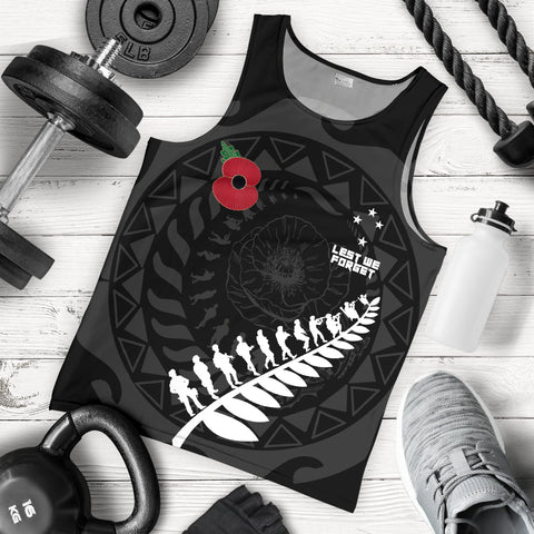 Image of Anzac Tattoo New Zealand, Lest We Forget Men Tank Top K5 - 1st New Zealand