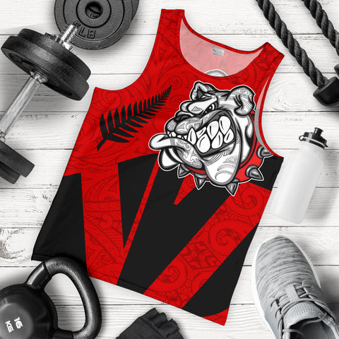 New Zealand Tank Tops, Maori Bulldog Silver Fern Sleeveless Shirts K5 - 1st New Zealand