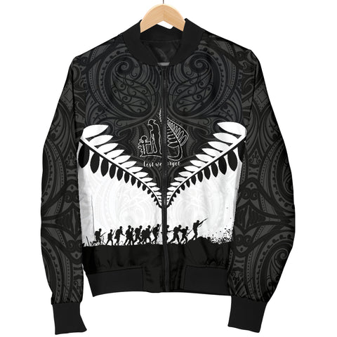 Image of New Zealand Anzac Day Women Bomber Jacket, Lest We Forget Silver Fern K4 - 1st New Zealand