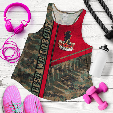 Anzac New Zealand Women Racerback Tank Lest We Forget Camo - Road to Peace K4 - 1st New Zealand