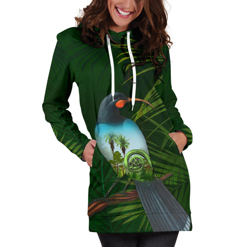 Huia Bird New Zealand Women's Hoodie Dress K5 - 1st New Zealand