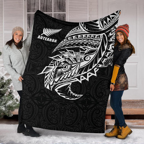 Maori Tattoo Premium Blanket Polynesian Style Black K4 - 1st New Zealand
