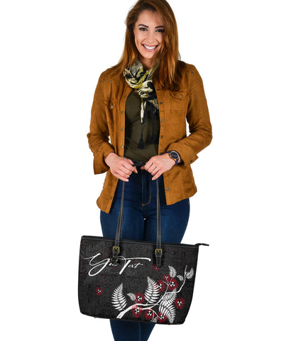 Signature Custom, Pohutukawa Silver Fern Leather Tote Bag Black K5 - 1st New Zealand