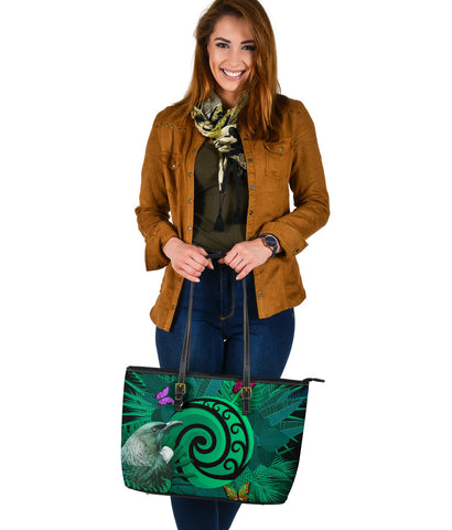 New Zealand Large Leather Tote Koru Fern Mix Tui Bird - Tropical Floral Turquoise K4