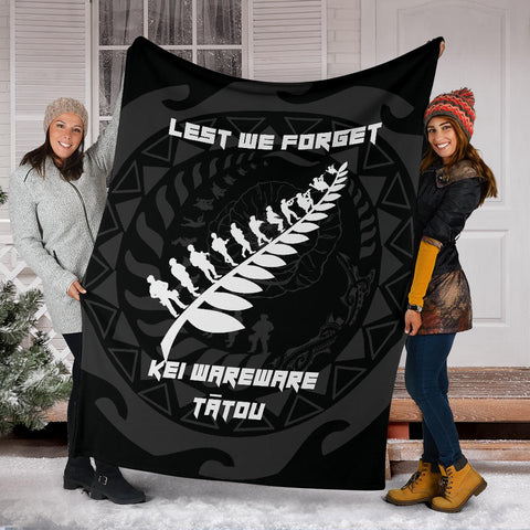 Anzac Tattoo New Zealand, Lest We Forget Premium Blanket K5 - 1st New Zealand
