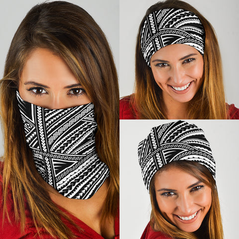 Polynesian Tribal Tattoo Bandana - White K5 - 1st New Zealand