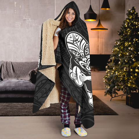 Rugby Face to Face Style Hooded Blanket - hooded blanket back - color black - hooded outfit