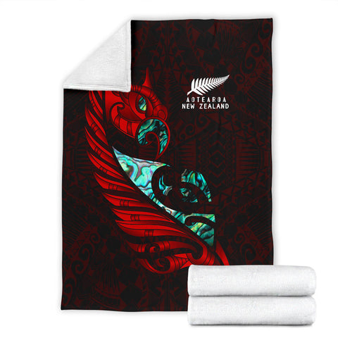 Image of New Zealand Premium Blanket Manaia Paua Fern Wing - Red K4 - 1st New Zealand