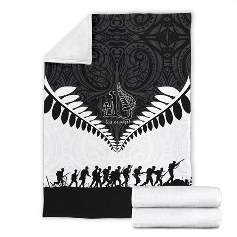New Zealand Anzac Day Premium Blanket, Lest We Forget Silver Fern K4 - 1st New Zealand