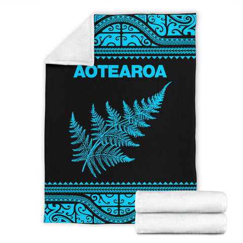 Aotearoa New Zealand Maori Premium Blanket Silver Fern - Blue K4x - 1st New Zealand